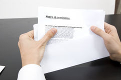 fired letter pink slip Stock Photos