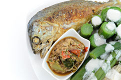 Fired mackerel with chili paste and vegetable Stock Image