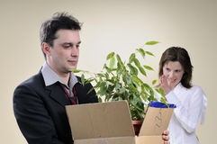 Fired man and happy manager smiling Stock Photography