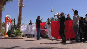 Fired Moroccans picketing stock video
