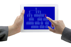 Fired or Resigned concept. Man hand touch on person who fired on Tablet for Human Resource Concept Stock Image