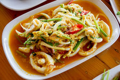 Fired Squid With Salty Egg (Thai Food) Royalty Free Stock Images