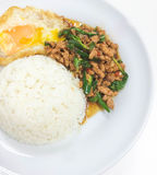 Fired Stir Basil and Minced Pork and Fried Egg. Fired Stir Basil and Minced Pork and Fried Egg has ready to served Stock Photo