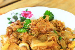Fired thin noodles with soy sauce. Closeup fired thin noodles with soy sauce, thai style food Stock Photo