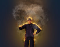 Fired Up Enraged Security Officer Illustration Stock Photos