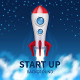 Fired up space rocket, retro booster. Shuttle launch creative startup vector background. Launch rocket ship, start up spaceship and business shuttle Stock Photos