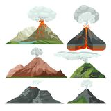 Fired up volcano mountains with magma and hot lava. Volcanic eruption with dust clouds vector set Stock Images
