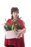 Fired woman carrying a box of personal items Stock Images