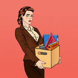 Fired Woman. Disappointed Businesswoman. Fired Office Worker. Holding Box with Belongings. Pop Art. Vector illustration Royalty Free Stock Images
