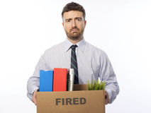 Fired worker portrait white background Royalty Free Stock Photos