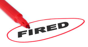Fired written by red pen Stock Photos