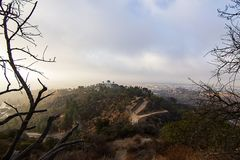 Firedamage di Hillside che trascura l'osservatorio di Griffith fotografie stock libere da diritti