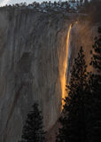 Firefall bei Yosemite Stockbilder