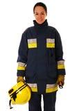 Firefighter. Portrait of female firefighter over white royalty free stock photo