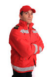 Firefighter. Mature fireman with a confident expression Stock Image