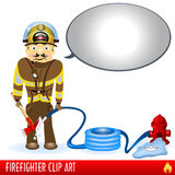 Firefighter. Clip art illustration with big comic-book balloon Royalty Free Stock Photo