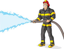 Firefighter. Handsome Firefighter using a fire hose Stock Photos