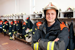Firefighter. Picture from a young and successful firefighter at work Stock Image