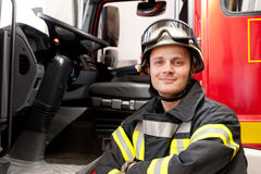 Firefighter. Picture from a young and successful firefighter at work Stock Images
