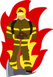 Firefighter. Vector - firefighter with axe and fire , hand draw, isolated on background Royalty Free Stock Photography