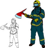 Firefighter. Vector - Firefighter with axe , hand draw, isolated on background Royalty Free Stock Image