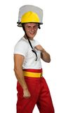 Firefighter. Young muscular man, isolated on white, people diversity series Stock Photography