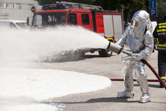 Firefighter. S in action.  training Stock Images