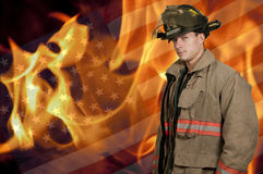 Firefighter. Young attractive male American man firefighter ready for work Royalty Free Stock Photography
