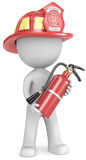Firefighter. Dude the Firefighter holding fire extinguisher. Red helmet Royalty Free Stock Photo