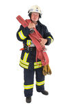 A firefighter. With his tools and equipment Royalty Free Stock Photography