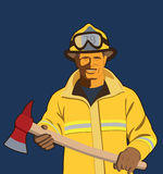 Firefighter. Fire fighter holding an axe Stock Photo