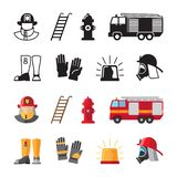 Firefighter accessorises, fireman tools vector icons isolated on white background. Illustration of fireman and helmet, accessories and tools for safety stock illustration