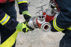 Firefighter. In action disaster fire Stock Photography