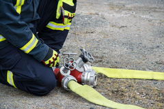 Firefighter. In action disaster fire Stock Photo