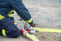 Firefighter. In action disaster fire Royalty Free Stock Image