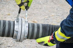 Firefighter. In action disaster fire Royalty Free Stock Photography