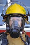 Firefighter in air mask Royalty Free Stock Images