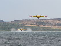 Firefighter airplane, water bomber, air tank taking water from t Stock Photos