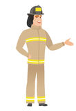 Firefighter with arm out in a welcoming gesture. Full length of welcoming young caucasian firefighter. Firefighter doing a welcome gesture. Vector flat design Stock Photography