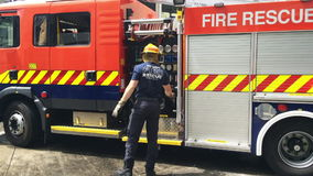 Firefighter in Auckland City Fire Station in Auckland New Zealand stock footage