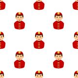 Firefighter Avatar Flat Icon Seamless Pattern. A seamless pattern with a caucasian fireman avatar with red uniform and hat, isolated on white background. Useful Stock Photos