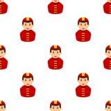 Firefighter Avatar Flat Icon Seamless Pattern Stock Photos