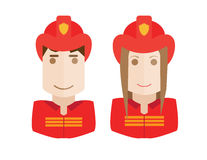 Firefighter avatars set. Illustration of the firemen on a white background avatars set woman and man Royalty Free Stock Photo
