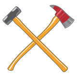 Firefighter Ax and Sledge Hammer. Is an illustration of a firefighter or fireman's Maltese cross with a crossed  ax and a sledge hammer Stock Photos