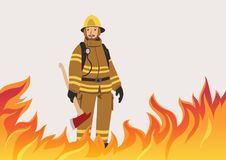 Firefighter with an ax standing in the midst of fire. Vector illustration with copy space. A firefighter with an ax standing in the midst of fire. Vector Royalty Free Stock Photography
