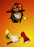 Firefighter with axe in hand, vector illustration. Easy to edit layers with vector background Royalty Free Stock Images