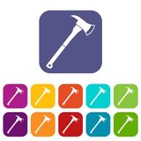 Firefighter axe icons set Royalty Free Stock Images