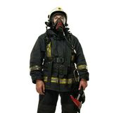 Firefighter with axe. And wearing oxygen mask isolated on white Royalty Free Stock Photography