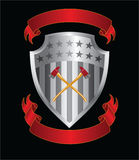 Firefighter Axes On Shield. Illustration of a silver stars and stripes shield with crossed firefighter axes and two ribbons or banners Stock Image
