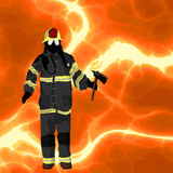 Firefighter background. Firefighter over flames background, plenty of room for text Stock Photos